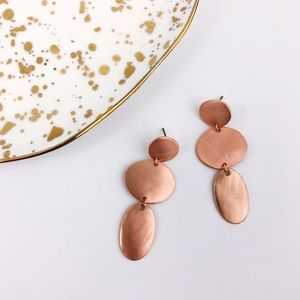 Brushed Rose Gold Abstract ovals Earrings NEW